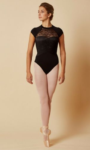 Mirella by Bloch Ladies Dance Cap Sleeved Leotard Lace Bodice M5083 Black